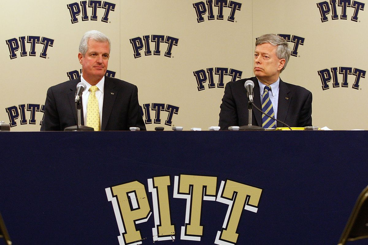Mark Nordenberg and Steve Pederson negotiated an early release for Pitt from the Big East (Photo by Jared Wickerham/Getty Images)
