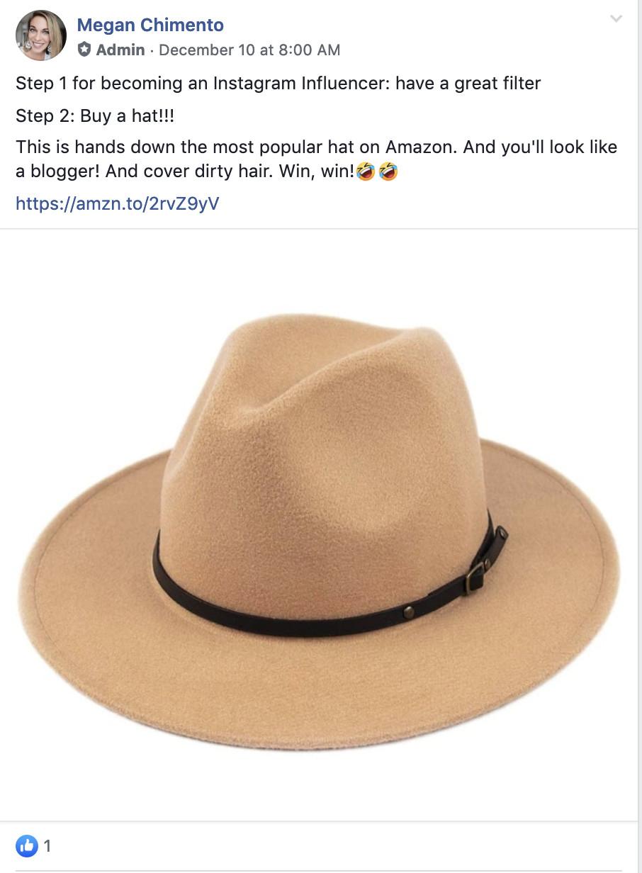 Une capture d'écran d'un message sur le groupe Facebook, The Amazon Moms, dans lequel un chapeau en feutre est promu.