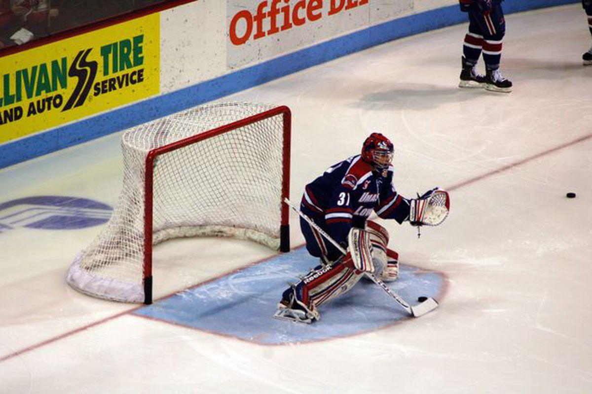 UMass-Lowell freshman goaltender Connor Hellebuyck
