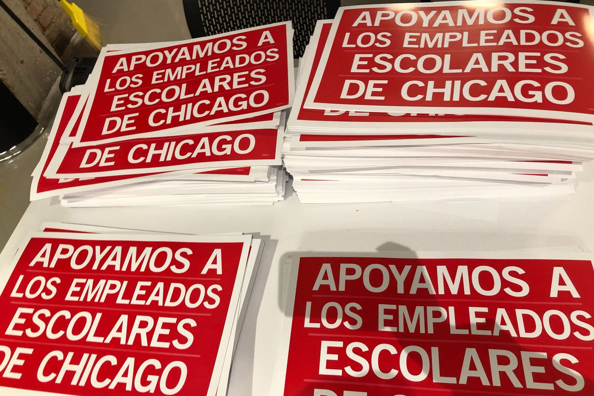 After formalizing a strike vote Oct. 16, 2019, the Chicago Teachers Union distributed picket signs in English and Spanish for members to use during their strike.