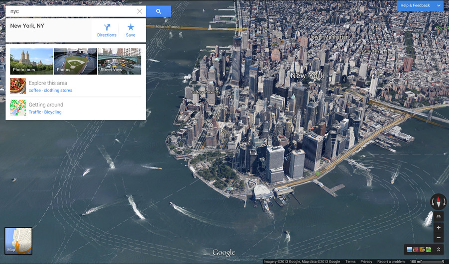 Google maps integrates google earth and street view in completely google maps desktop redesign screenshots gumiabroncs Choice Image