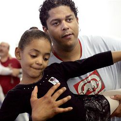 Aaron Marshall rehearses with 6-year-old Arianna Griffin for the Father's Day Salute at Jo Emery Dance Studio, Saturday June 6, 2009.