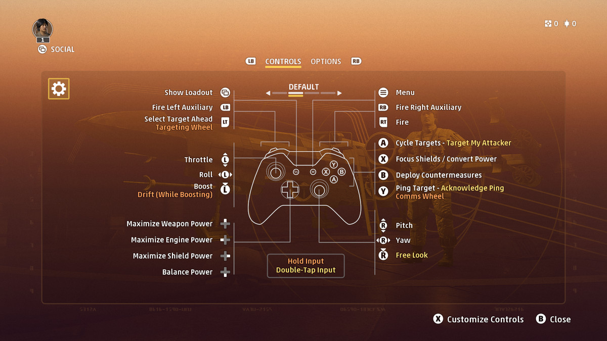 The default options for controller in Star Wars: Squadrons