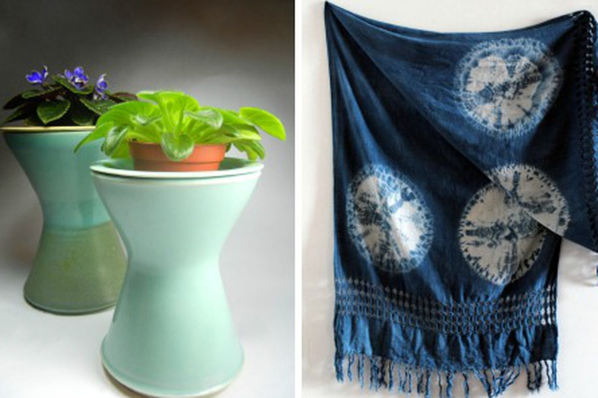 Left, planters from Kamspots; Right, handwoven indigo-dyed scarf from Honest Alchemy  Co.