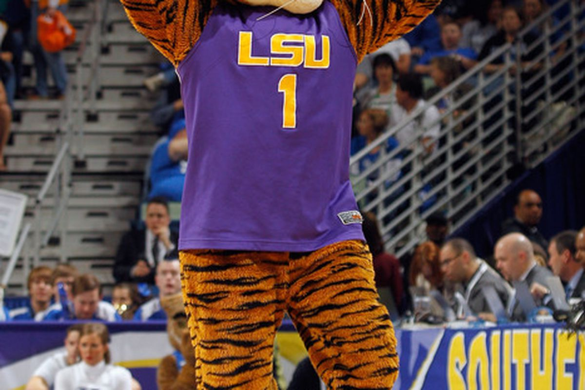 NEW ORLEANS, LA - MARCH 09:  Mascot Mike the Tiger of LSU Tigers performs during the quarterfinals of the SEC Men's Basketball Tournament at the New Orleans Arena on March 9, 2012 in New Orleans, Louisiana.  (Photo by Chris Graythen/Getty Images)