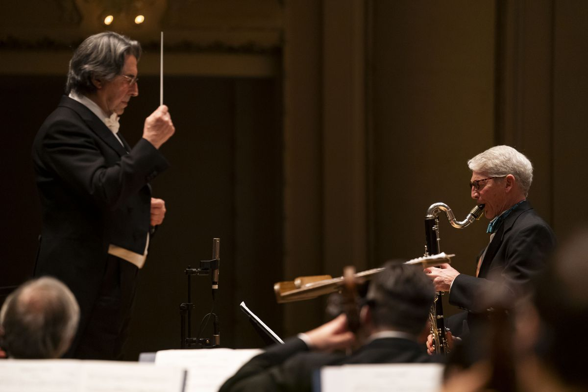 """CSO Bass-Clarinet J. Lawrie Bloom is soloist with the Chicago Symphony Orchestra and conductor Riccardo Muti in the world premiere of Nicolas Bacri's """"Ophelia's Tears"""" at Symphony Center on Thursday night."""