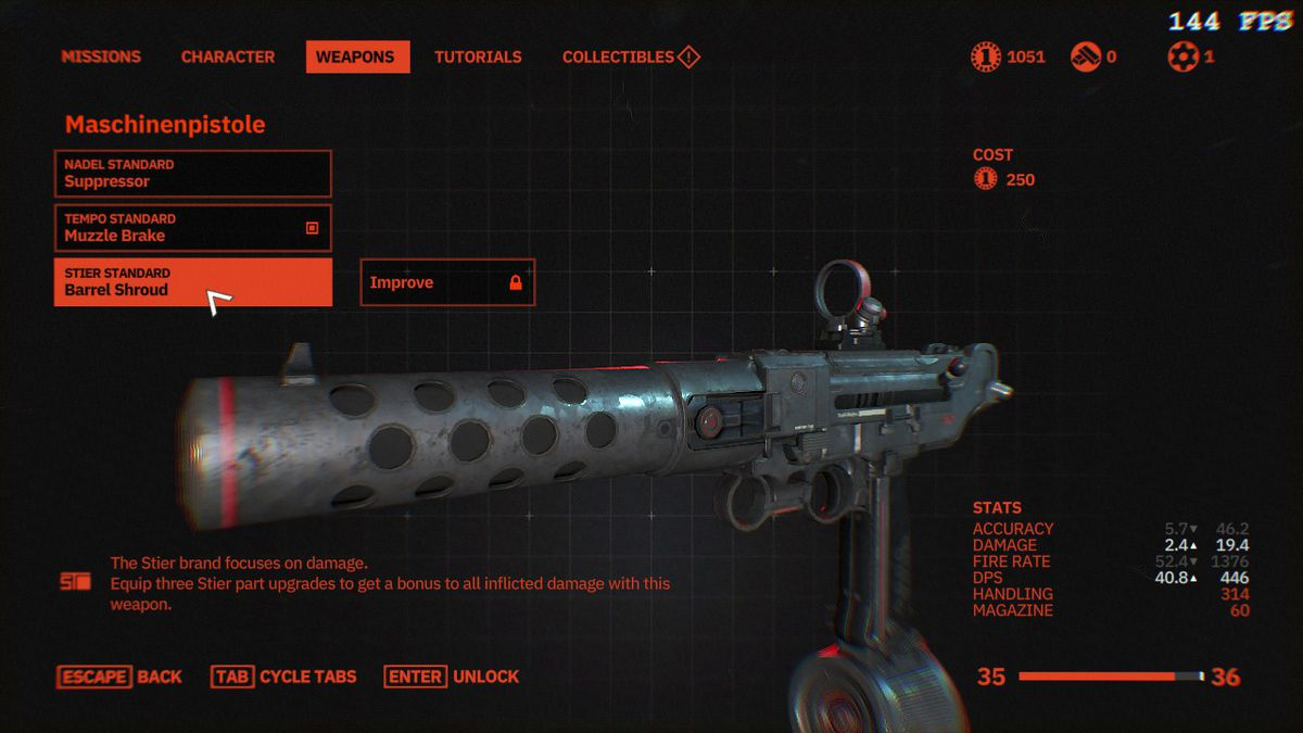 An image of a machine gun in Wolfenstein: Youngbloo, with a cost of 250 silver coins