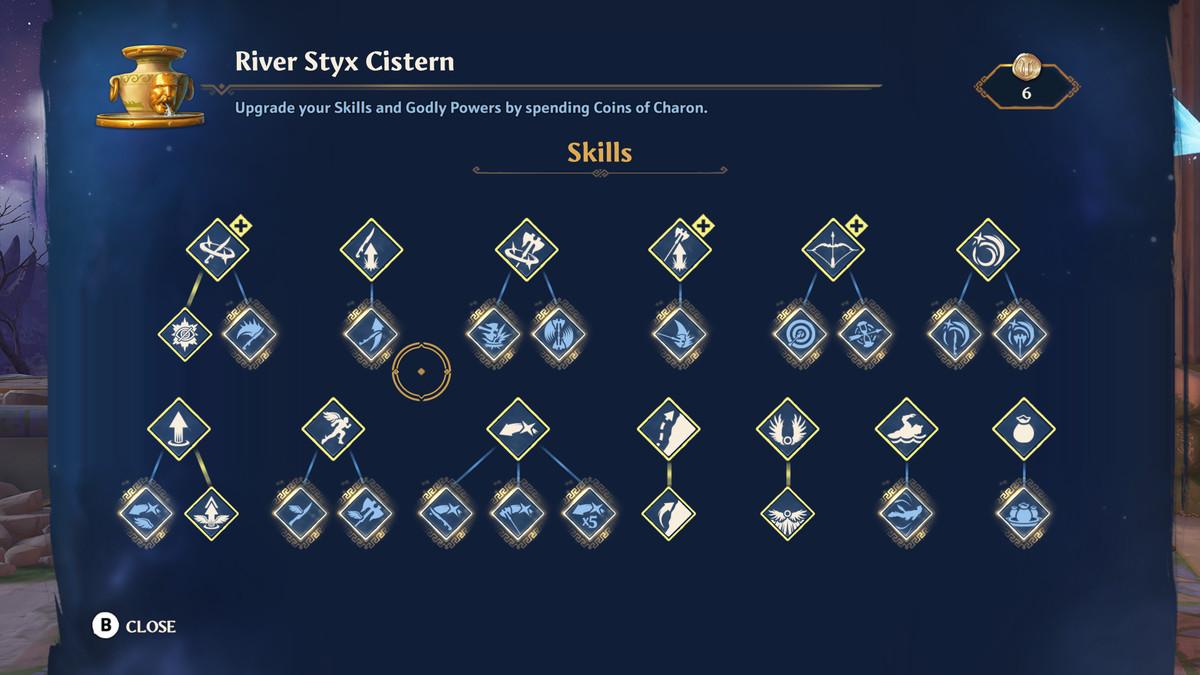 The skill upgrade screen in Immortals Fenyx Rising