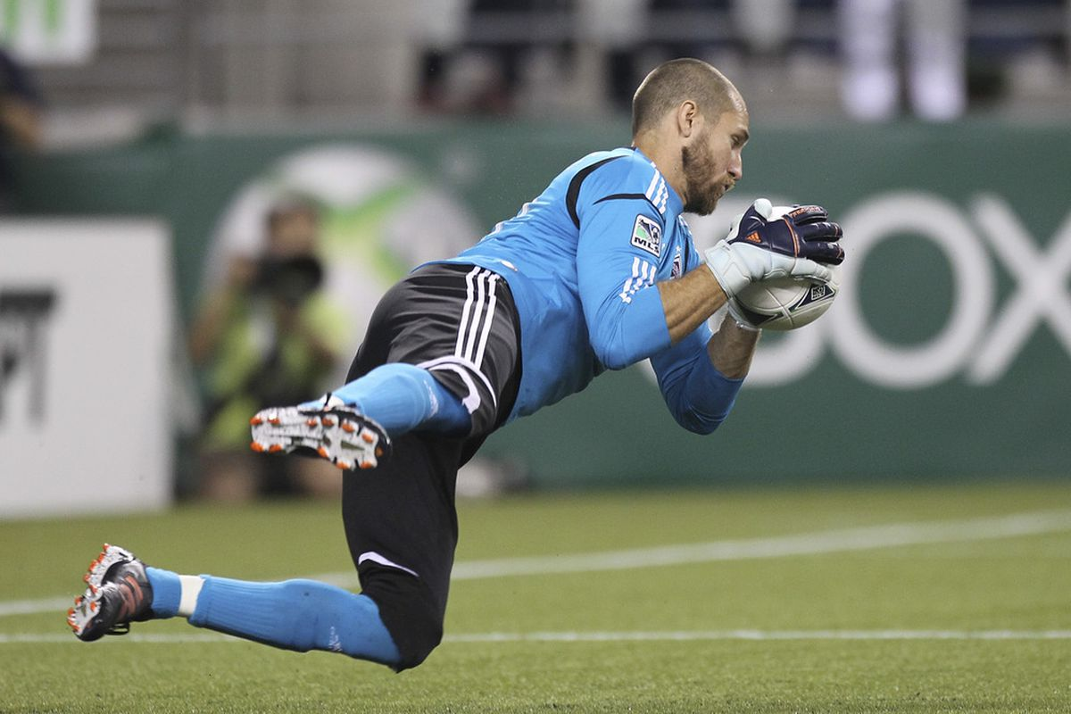 SEATTLE, WA - JULY 07:  Goalkeeper Matt Pickens #18 of the Colorado Rapids blocks a shot against the Seattle Sounders at CenturyLink Field on July 7, 2012 in Seattle, Washington. (Photo by Otto Greule Jr/Getty Images)