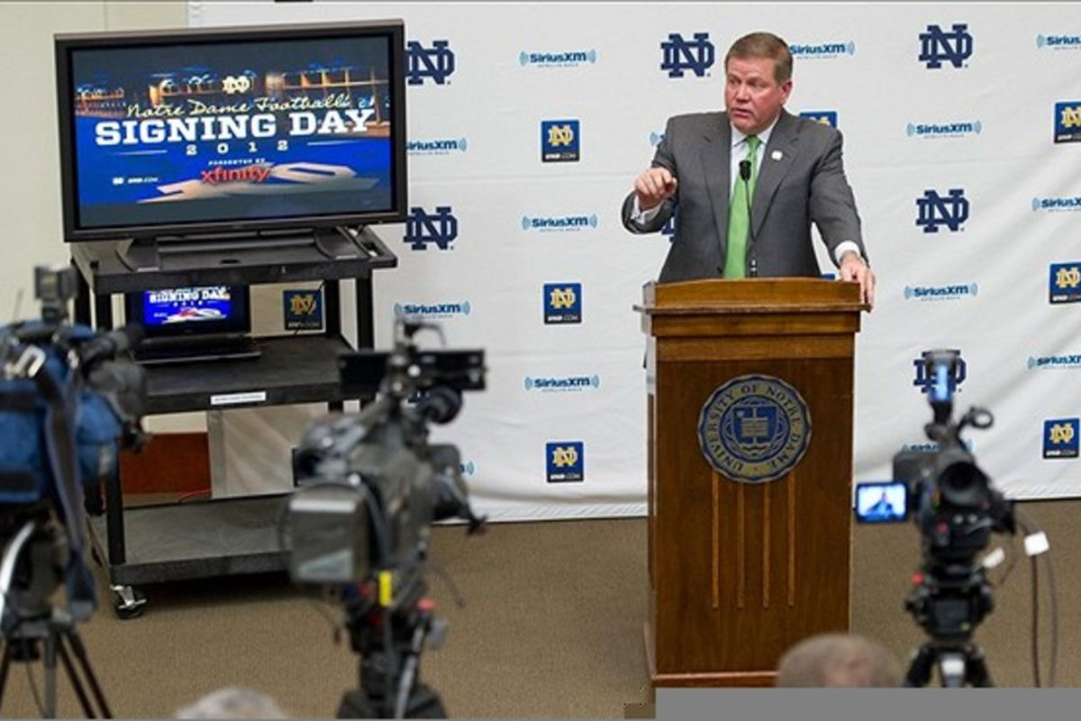Feb. 1, 2012; South Bend, IN, USA; Notre Dame Fighting Irish head coach Brian Kelly speaks at a press conference for national signing day at the Guglielmnio Athletics Complex. Mandatory Credit: Matt Cashore-US PRESSWIRE
