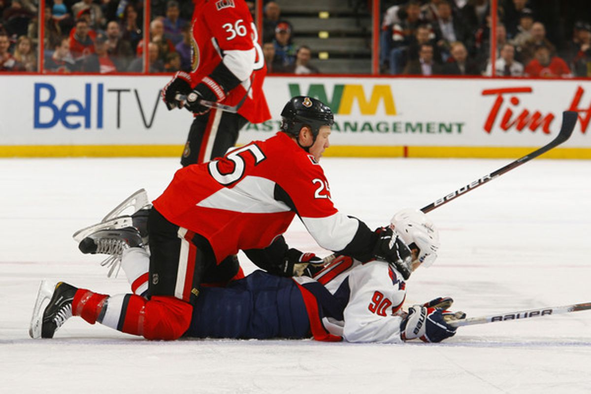Turns out this is interference, even in tonight's strangely officiated game.  (Photo by Phillip MacCallum/Getty Images)