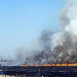 The Sacramento Metropolitan Fire District responds to a 430-acre grass fire in the Elverta, Calif., area, Monday, July 27, 2015, that threatened homes and is believed to have been started by an arsonist, according to fire officials.