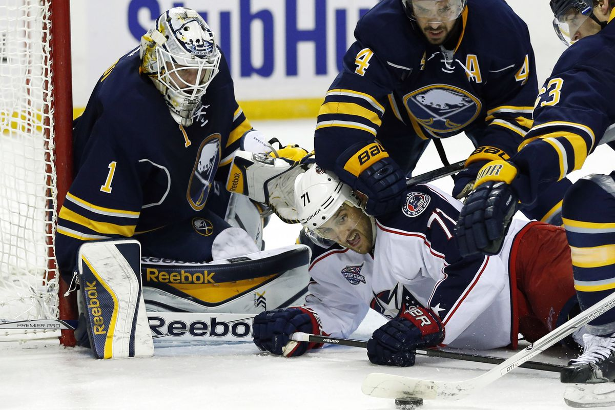Jonas Enroth has seen a lot of rubber through two games.