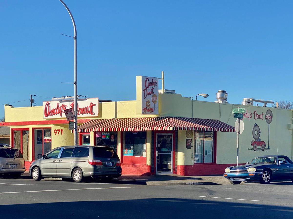 Exterior of Andy's Donut Shop