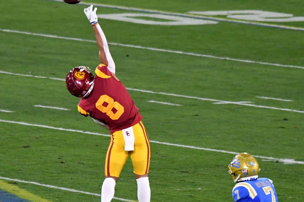 Wide receiver Amon-Ra St. Brown of the USC Trojans can't reach a pass against the UCLA Bruins in the first half of a NCAA Football game at the Rose Bowl in Pasadena on Saturday, December 12, 2020.