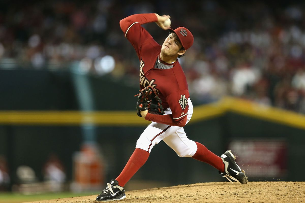 PHOENIX, AZ - JULY 08:  Starting pitcher Trevor Bauer #17 of the Arizona Diamondbacks pitches against the Los Angeles Dodgers during the MLB game at Chase Field on July 8, 2012 in Phoenix, Arizona.  (Photo by Christian Petersen/Getty Images)