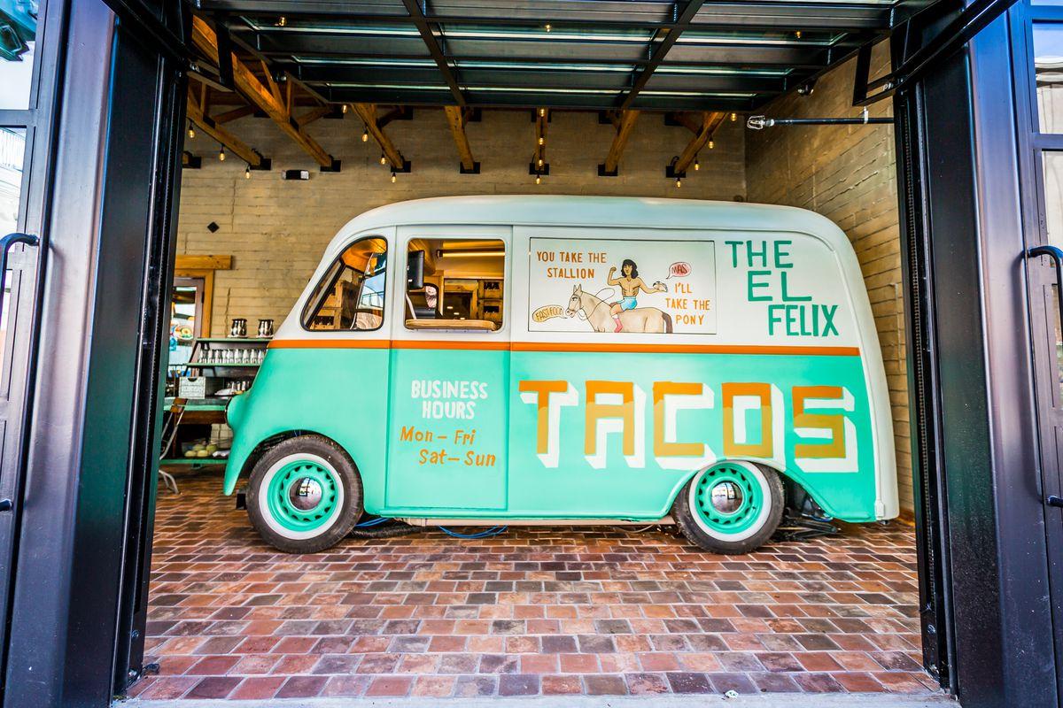The taco truck parked inside the El Felix at Battery Atlanta