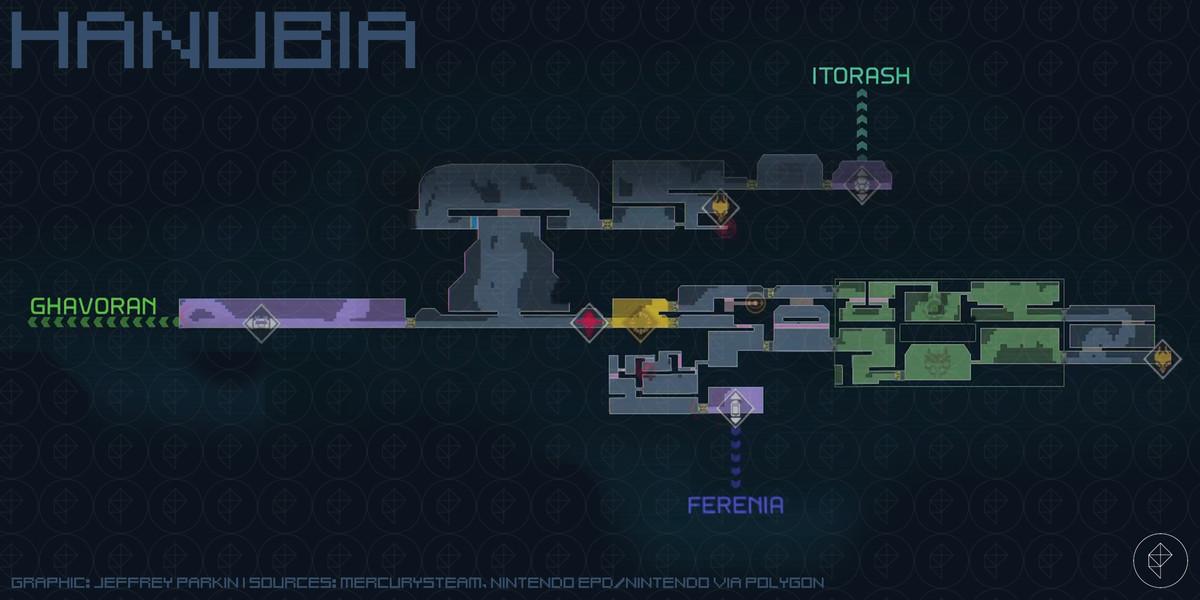 Metroid Dread Hanubia map