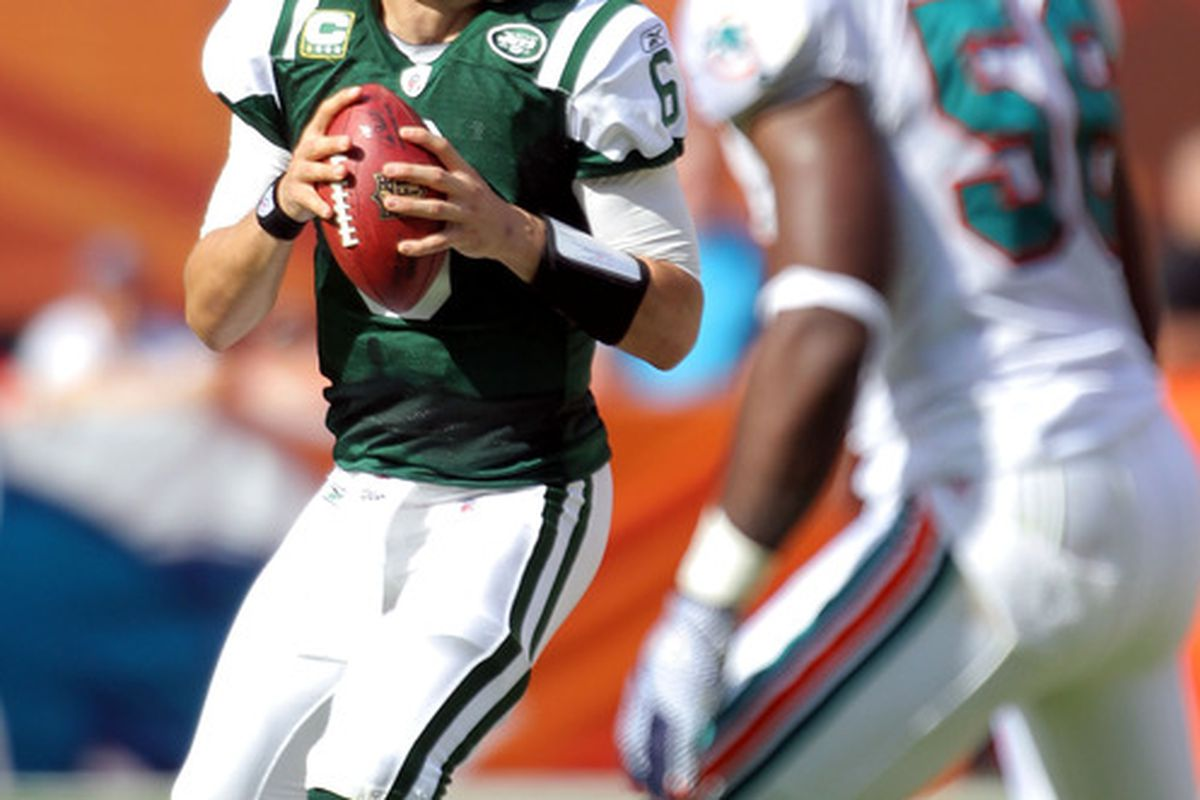 Mark Sanchez passes in a previous game against Miami. (Photo by Marc Serota/Getty Images)