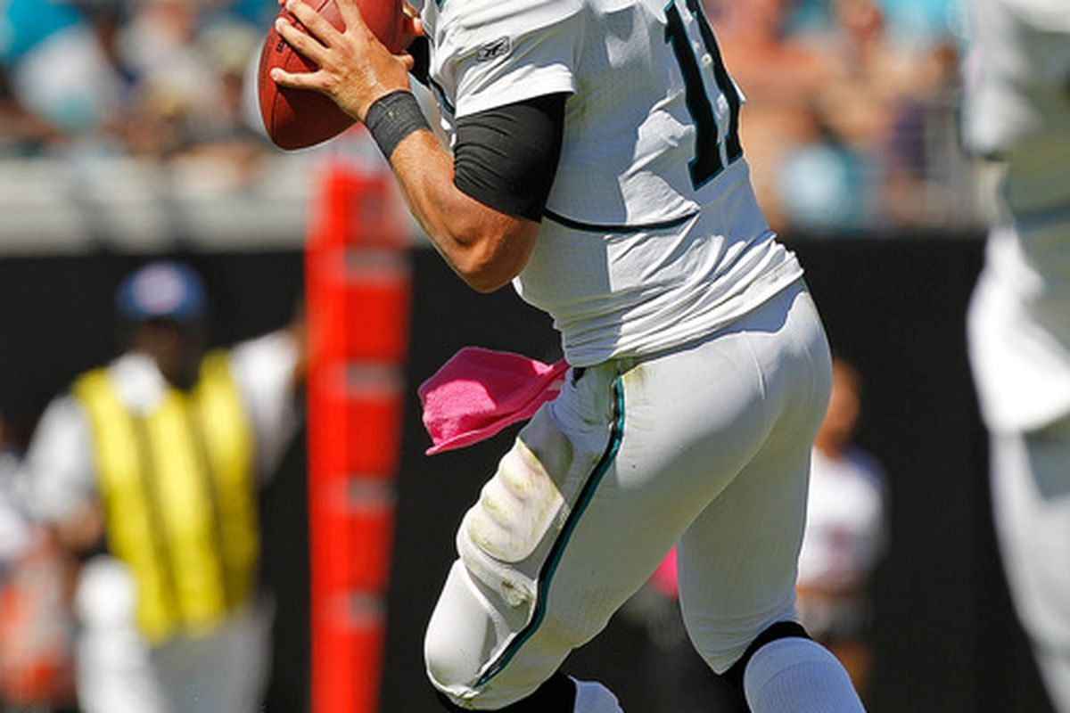 JACKSONVILLE, FL - OCTOBER 02:  Blaine Gabbert #11 of the Jacksonville Jaguars passes during a game against the New Orleans Saints at EverBank Field on October 2, 2011 in Jacksonville, Florida.  (Photo by Mike Ehrmann/Getty Images)
