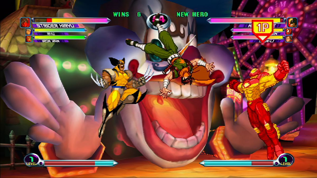 Screenshot of the Marvel vs Capcom 2 fighting game with Wolverine jumping