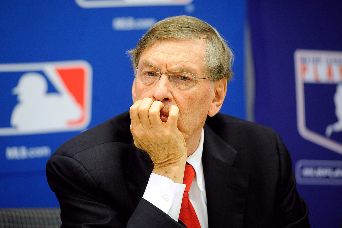 NEW YORK, NY - Major League Baseball Commissioner Bud Selig attends a news conference at MLB headquarters.  (Photo by Patrick McDermott/Getty Images)