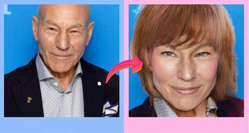 Sir Patrick Stewart in a picture as himself and then as his imaginary female self