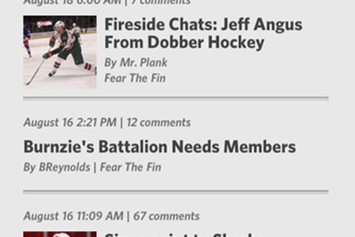 <em>Fear The Fin in action on SBN's new iPhone app.</em>