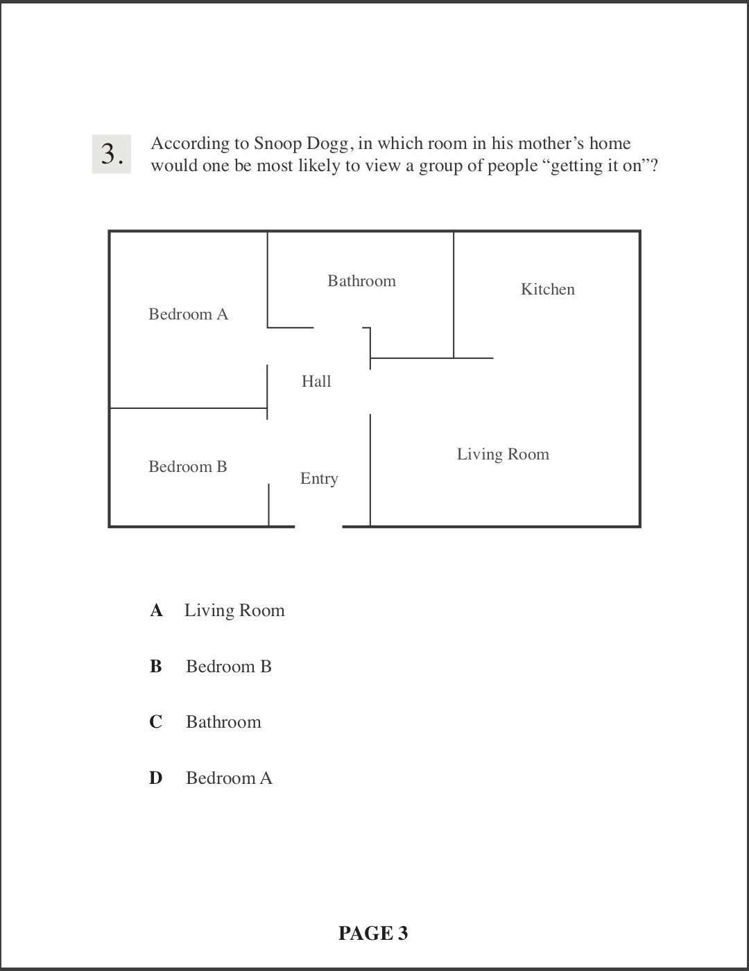 """Question: According to Snoop Dogg, in which room in his mother's home would one be most likely to view a group of people """"getting it on""""? Image: a floor plan of a house. Answer choices: A. Living room, B. Bedroom B, C. Bathroom, D. Bedroom A"""