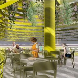 A rendering of the patio at the new Denny's at Neonopolis.