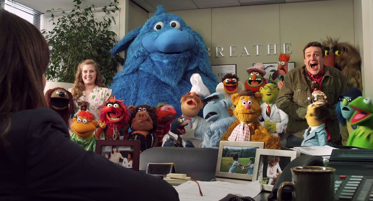 amy adams, a bunch of muppets, and jason segel