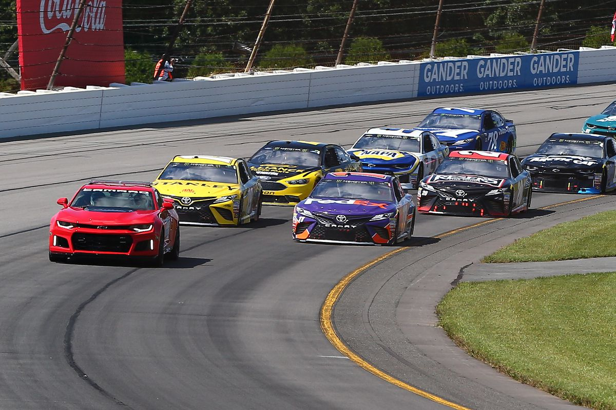 A general view of the Pace Car leading the field prior to the Monster Energy NASCAR Cup Series - 45th Annual Gander Outdoors 400 on July 29, 2018 at Pocono Raceway in Long Pond, PA.