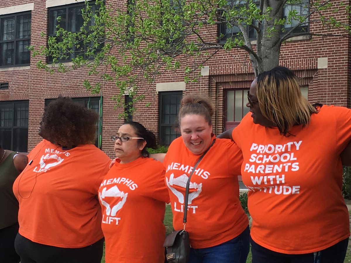 Memphis Lift parents line up during a 2016 rally outside of an Achievement School District elementary school.