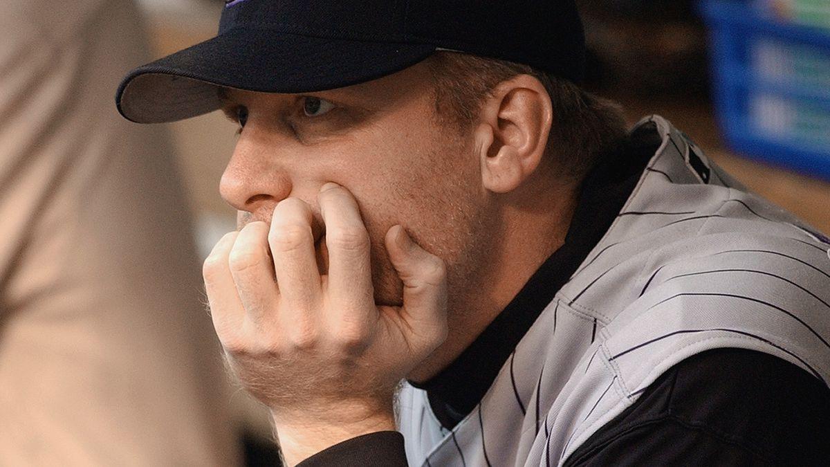 Curt Schilling waits in dugout