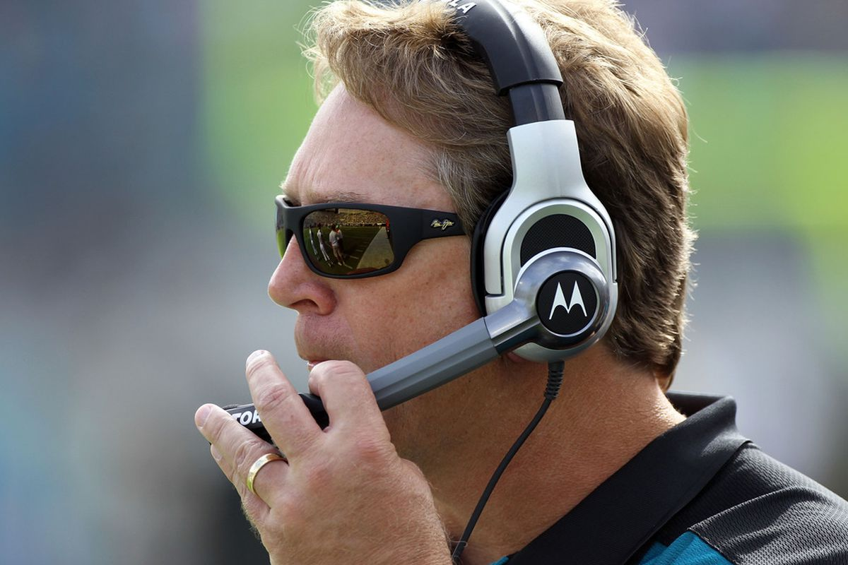 JACKSONVILLE, FL - NOVEMBER 27:  Head coach Jack Del Rio of the Jacksonville Jaguars watches the action during the game against the Houston Texans at EverBank Field on November 27, 2011 in Jacksonville, Florida.  (Photo by Sam Greenwood/Getty Images)