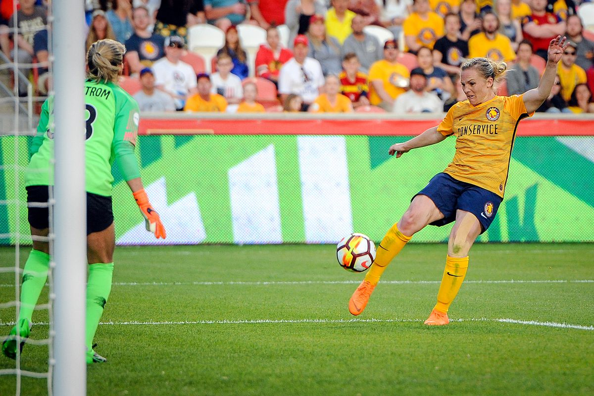 Utah Royals FC forward Amy Rodriguez (8) misses a shot on goal as the Utah Royals host the Portland Thorns at Rio Tinto Stadium in Sandy on Saturday, April 28, 2018.