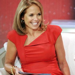 """This Aug. 9, 2012 photo released by Disney-ABC Domestic Television shows host Katie Couric during a taping of her new talk show """"Katie."""" Couric's new show will debut on Monday, Sept. 10. (AP Photo/Disney-ABC Domestic TV, Ida Mae Astute)"""