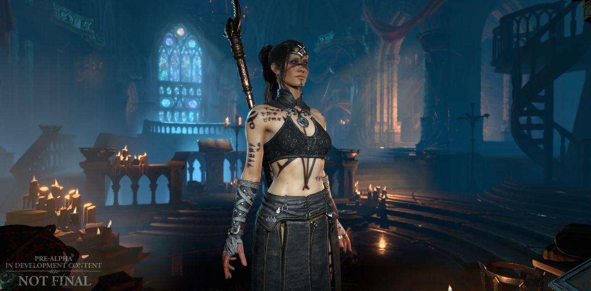 A shot of the Sorceress in a church in Diablo 4