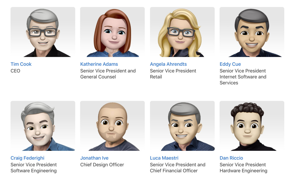 Apple replaced its executive portraits with Memoji - The Verge