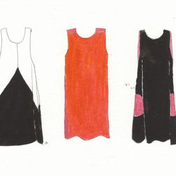 Pieces dress, cream and black, $895. Peek-A-Boo dress, red and hot pink, $995. Circle Sleeveless dress, black and pink, $895.