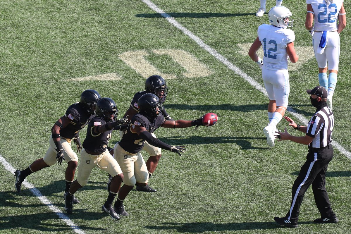 Marquel Broughton of the Army Black Knights celebrates an interception against the Citadel Bulldogs at Michie Stadium on October 10, 2020 in West Point, New York.
