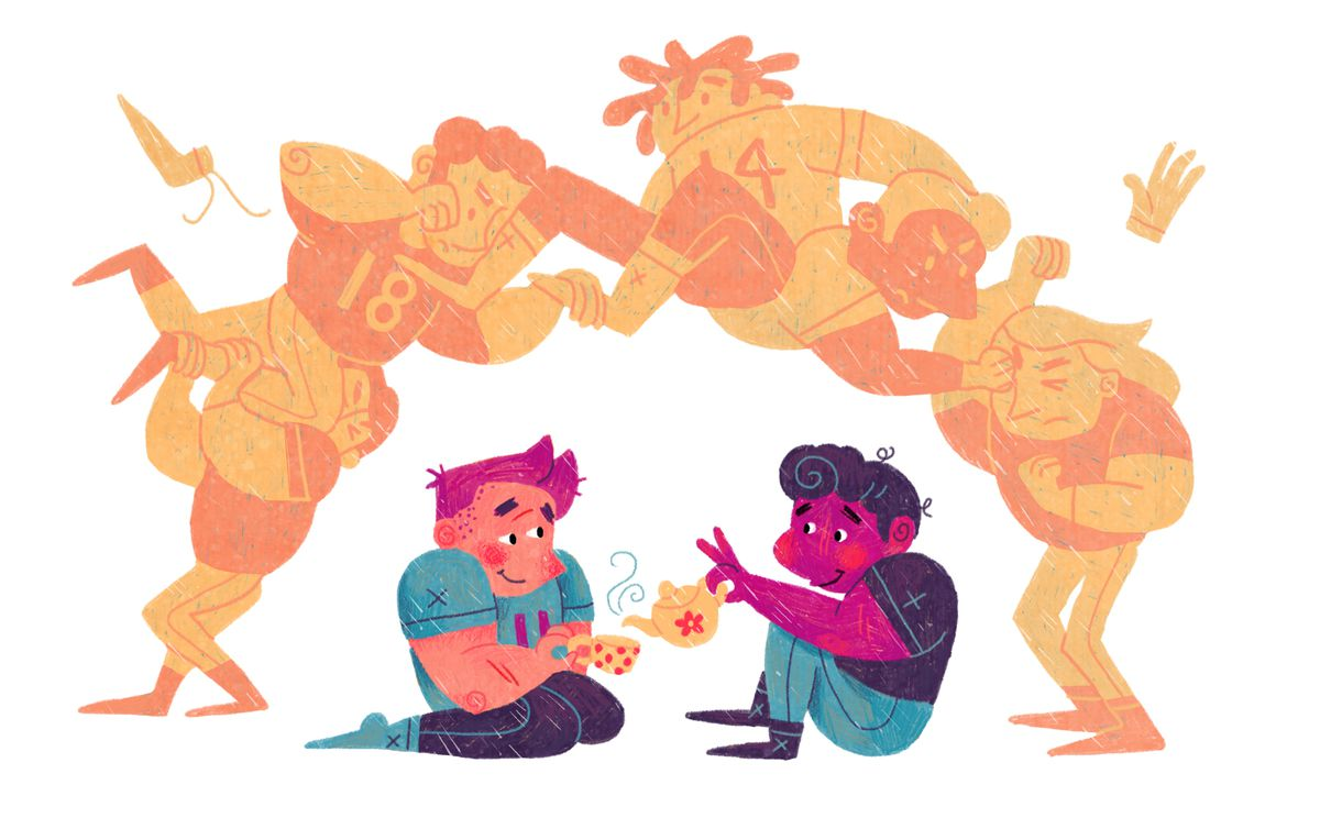Illustration of two players having a tea party below the chaos of the fumble