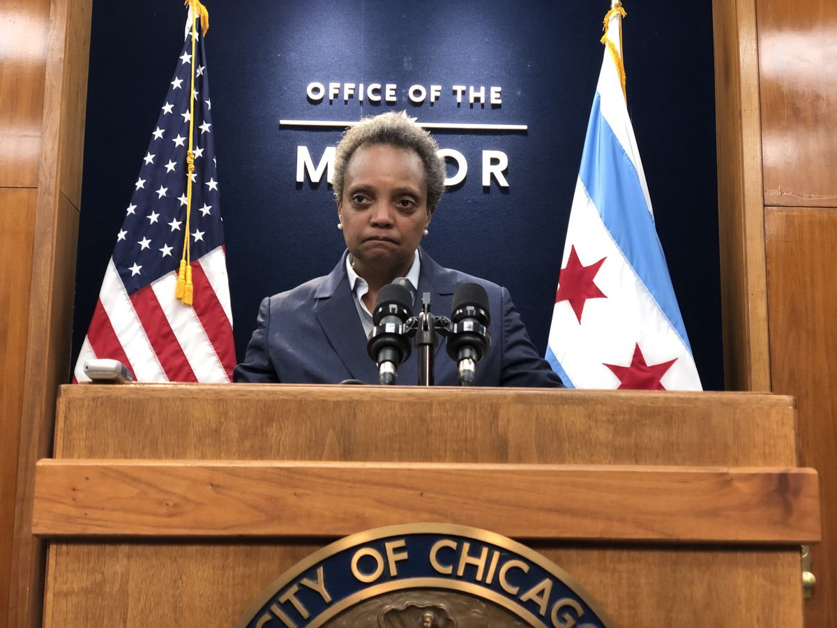 Mayor Lightfoot at a December news conference.