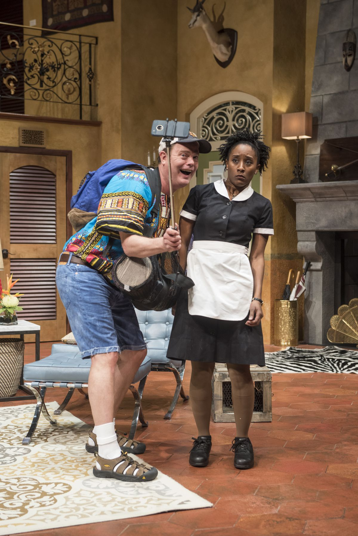 "Jimmy (Rainn Wilson) meets Rosie the maid (Celeste M. Cooper) in The Doppelgänger (an international farce)"" by Matthew-Lee Erlbach.   Michael Brosilow Photo"