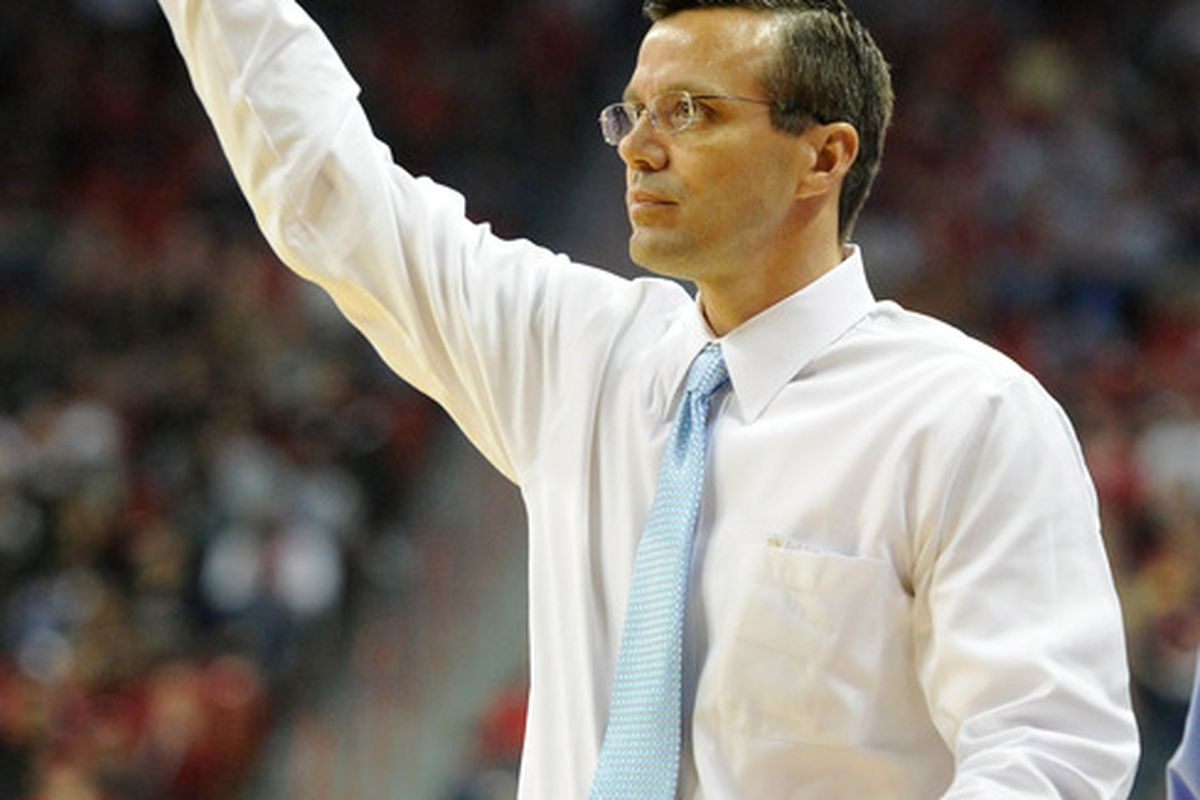 LAS VEGAS NV - JANUARY 19:  Head coach Tim Miles of the Colorado State Rams signals his players during their 78-63 victory over the UNLV Rebels at the Thomas & Mack Center January 19 2011 in Las Vegas Nevada.  (Photo by Ethan Miller/Getty Images)