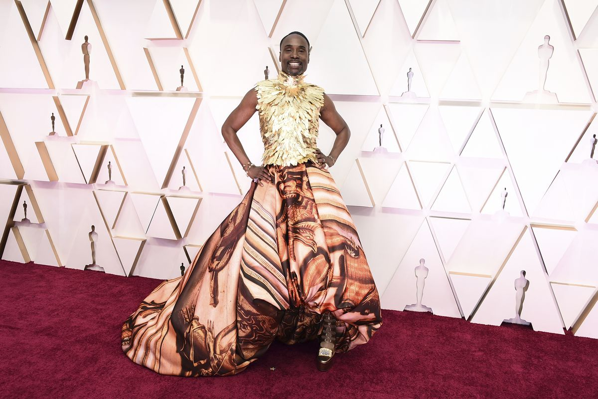 Billy Porter, wearing a Giles Deaconoriginal gown inspired by the artwork in Buckingham Palace, arrives at the Oscars on Sunday night at the Dolby Theatre in Los Angeles.