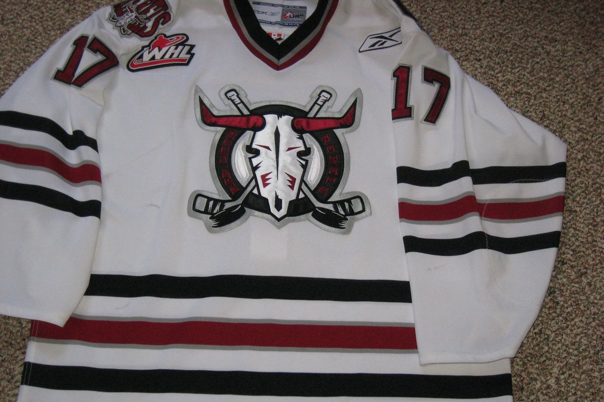From the amateur Western Hockey League is a game-worn Red Deer Rebels jersey 2008-09