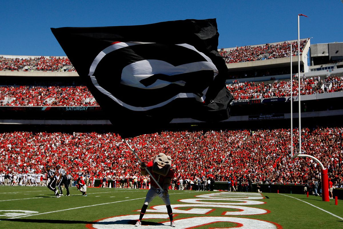 ATHENS, GA - OCTOBER 01:  Hairy, mascot of the Georgia Bulldogs, waves a flag after a touchdown against the Mississippi State Bulldogs at Sanford Stadium on October 1, 2011 in Athens, Georgia.  (Photo by Kevin C. Cox/Getty Images)