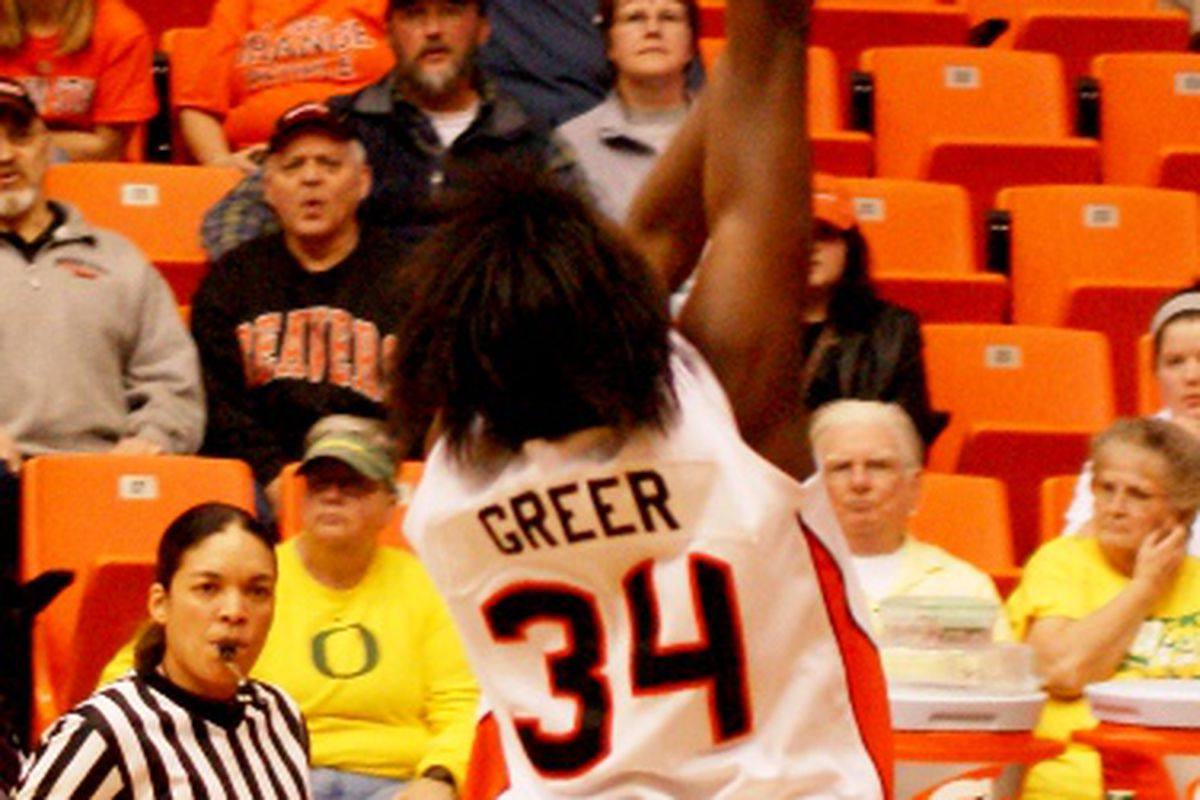 El Sara Greer was named the Pac-10 Player of the Week after she posted a 21 point, 13 rebound double double to lead Oregon St. to a come from behind 61-59 win over Oregon.  (Photo by Andy Wooldridge)
