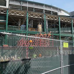 Another view of the scaffolding going up, near the main ticket windows, on the south end of Gallagher Way